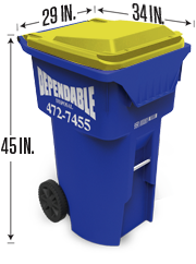 Yellow tote for recycling in Cayuga County and Onondaga County